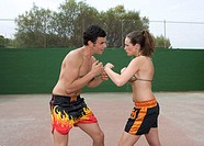 couple, young, Boxtraining, serious,  Gaze contact, concentrates,  Side view,  Playing field, boxers, 20-30 years, athletically, sportswear leisure ti...