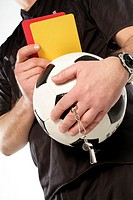 Referees, Fußballkleidung,  Ball, whistle, cards, holding,  Detail,  Series, man, occupation, sport, ball sport, team sport, football referees, hobby,...