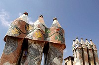 Spain, Barcelona, Casa Batllo,  Towers, detail,   Buildings, construction, Gaudi-Haus, Architect Antonio Gaudi, architecture, architecture, turrets, m...