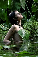Woman, young, naked, rain,  Water, swims, nature, jungle,  Girls, 17-20 years, 20-30 years, forest (thumbnail)