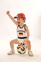 Toddler, boy, Fußballtrikot, Football, sitting, gesture, joy,   Series, 3 years, child, underwear, football clothing, jersey, Germany flag, stroke, Ge...