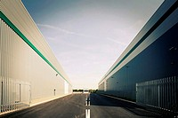 Road between two warehouses