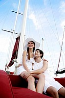 Couple sitting on yacht