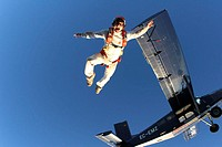Airplane ´Pilatus Porter´, Skydiver,  Outside case, from below,   Series, parachutists, Rolf Kuratle, extreme athletes, athletes, sport, parachute jum...