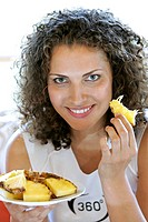 Woman, young, plates, pineapple, portrait, eat,    Series, women portrait, 20-30 years, long-haired, brunette curls curly gaze camera, smiling, kindly...
