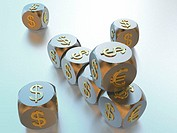 Dice, silvery, monetary symbols, Dollar, Euro, golden,  Game dice, monetary signs, currencies, European, American, money, finances, speculation, stock...