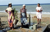 Water point. Mayotte, island of the Comoros archipelago in the Indian Ocean, French territory.