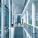 Businessman and businesswoman at the edge of stair in office building (thumbnail)