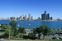 Detroit, Michigan, USA, from dieppe gardens, Windsor, Ontario, Canada.