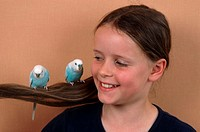 Girl, with, Budgerigars, Melopsittacus, undulatus