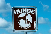 Dog, beach, sign, Binz, Isle, of, Rugen, Mecklenburg-Western, Pommerania, Germany