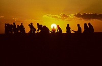 Silhouette of a crowd of people sitting on beach watching a gorgeous yellow sunset (thumbnail)