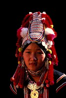 Thailand, Chiang Mai province, Chiang Mai city, portrait of a woman of the Akha minority group