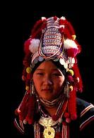 Thailand, Chiang Mai province, Chiang Mai city, portrait of a woman of the Akha minority group