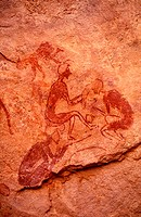 Libya, region of the desert, the Fezzan (Sahara), Tadrart Akacus, rock drawings of Wadi Teshwinat called the Hairdressing salon