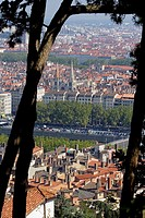 Lyon panorama from Fourviere basilica