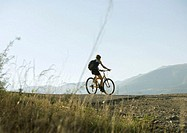 Spain, Catalonia, mountain biker