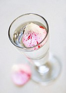 Flower petals in glass of water