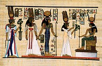 Egypt, Nile Valley, Luxor, handicraft, painting on papyrus