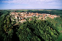 France, Côte-d´Or (21), village of Flavigny-sur-Ozerain, one of the most Beautiful Villages of France, aerial view