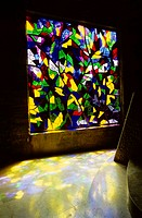 France, Meuse (55), stained glass of Saint-Rouin chapel in Argonne forest