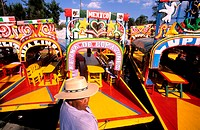 Mexico, Federal district, Mexico City, coloured rowboats of Xochimilco floating gardens