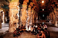 India, Tamil Nadu State, Madurai, pilgrim group of Sabarimala to Meenakshee temple