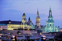 Cathedral and castle at night, Dresden. Saxony, Germany