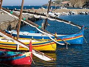 Boats docked in the harbor at Colliores, France on the Mediterranean coast.