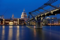 St Paul's Cathedral and the Millennium Bridge London England UK
