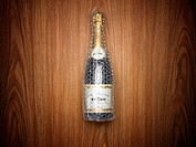 Champagne bottle wrapped in bubble wrap