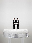Bridegroom figurines on a wedding cake