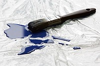 Paintbrush and blue paint