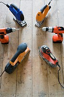 Power tools on floor