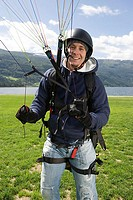 Smiling male parachutist