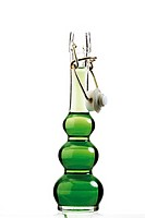 Green liquid in bottle with clip