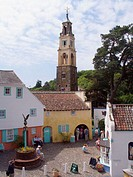 Shops and the Bell Tower, Portmeirion, Gwynedd, North Wales