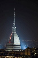 europe, italy, piemonte, turin, mole antonelliana by night