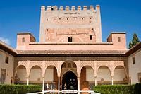 europe, spain, andalusia, granada, alhambra, patio de los arrayanes, tower of comares