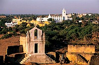 India, Union Territory of Daman and Diu, Diu city, panorama from the Portuguese fort, Saint Francis of Assisi church in the background