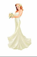 Pinup girl dressed in white gown with flowers