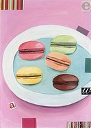 Five colored macaroons on a dish