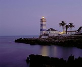 10206549, shipping, light house, at night, radiant, coast, palms, sea, Portugal, Cascais,