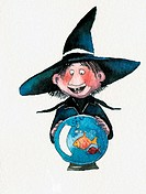 Witch looking into fishbowl globe