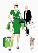 Couple with shopping bags and a dog