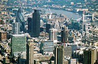 The city of London, capital of Great Britain. The City with Norman Foster´s ´Gherkin´ (the UK Hqs of the reinsurance company Swiss Re) as a new landma...