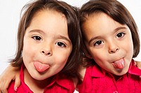Twin Sisters Making Funny Faces