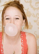 Teenage Girl Blowing Bubble
