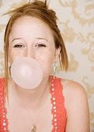 Teenage Girl Blowing Bubble