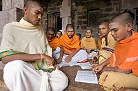 Students in a lingaïte school inside the temple in Sri Sailam, Andhra Pradesh